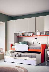 Lobby Double is a mid sleeper bed with trundle bed that incorporates two drawers