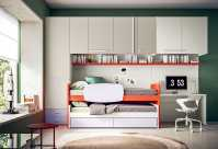 Start P21 is a smart space saving trundle kids' bedroom set with mid-sleeper bed and lower pull out bed