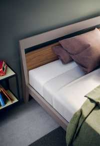 Fresh modern single bed painted in grey and with oak elements