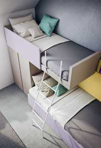 Castello staggered bunk bed with built in small wardrobe