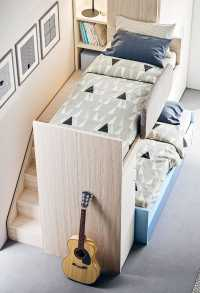 Castelponte loft bed incorporates stairs and a walkway
