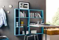 Wall mounted bookshelf with integrated desk