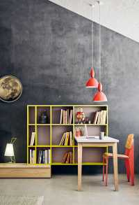 Gate bookshelf with integrated desk and bedside table