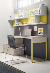 Slitta desk with metal leg on one side and panel with built in drawer unit on the other side