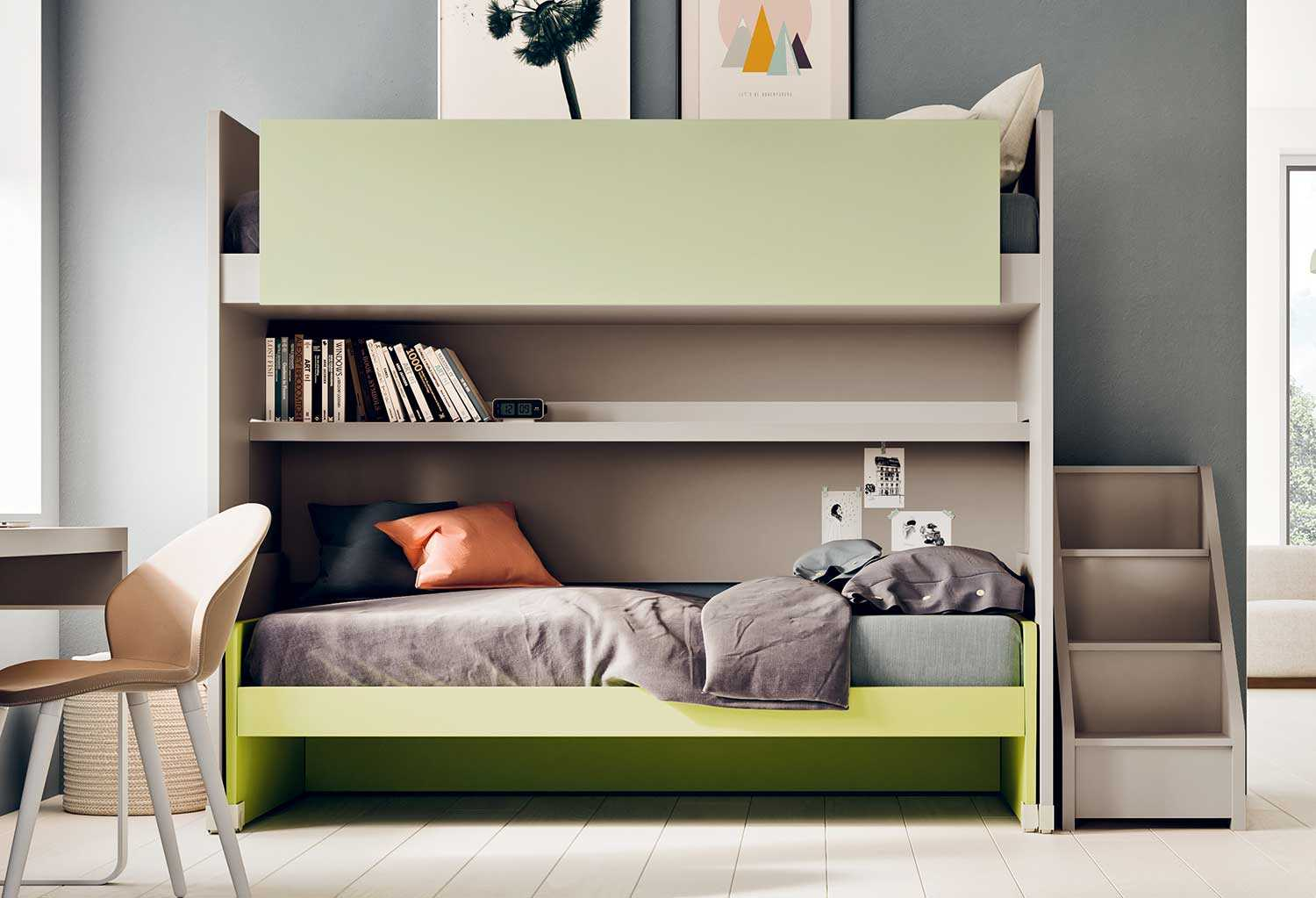 Slide modern children 39 s bunk bed clever - Scaletta per letto a castello ...