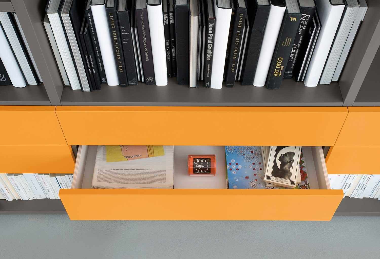 Dettaglio cassetto libreria Start-Parete