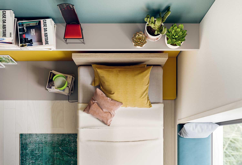 Visione dall'alto del letto Fresh con testiera in melaminico