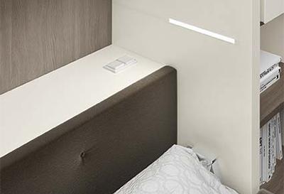 Dettaglio mensola posteriore e illuminazione integrata