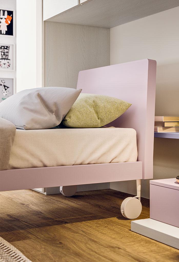 Bed frame on wheels
