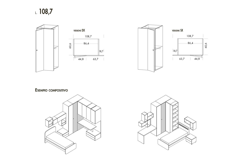 L'armadio Corner è largo 108,7 o 123,7 cm, con anta con apertura verso destra o verso sinistra