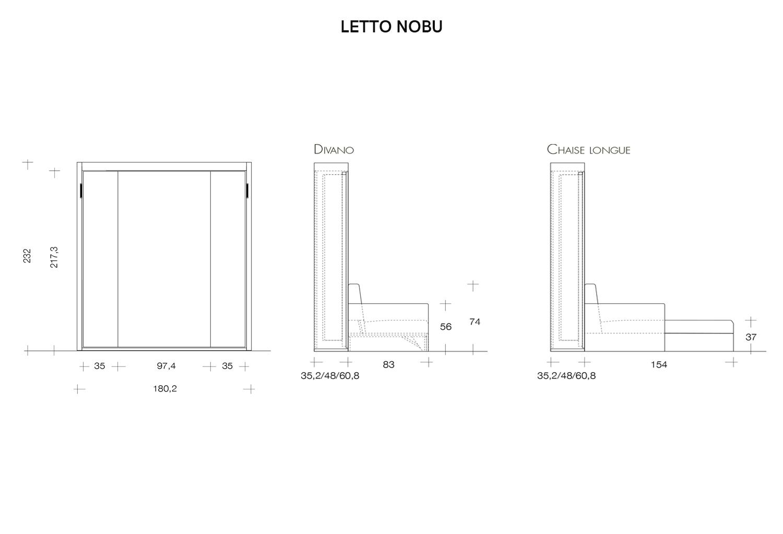 Schema dimensioni letto a scomparsa Nobu