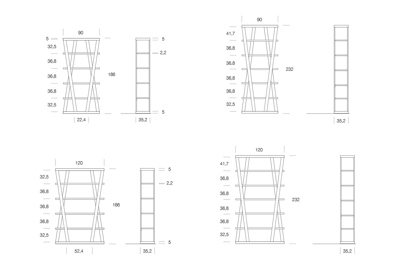 Modelli e dimensioni libreria Hon di Clever