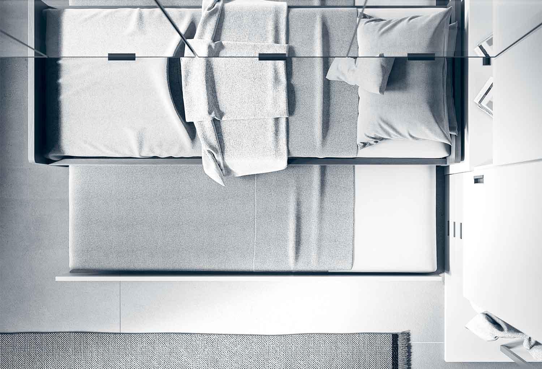 Visione dall'alto del divano letto