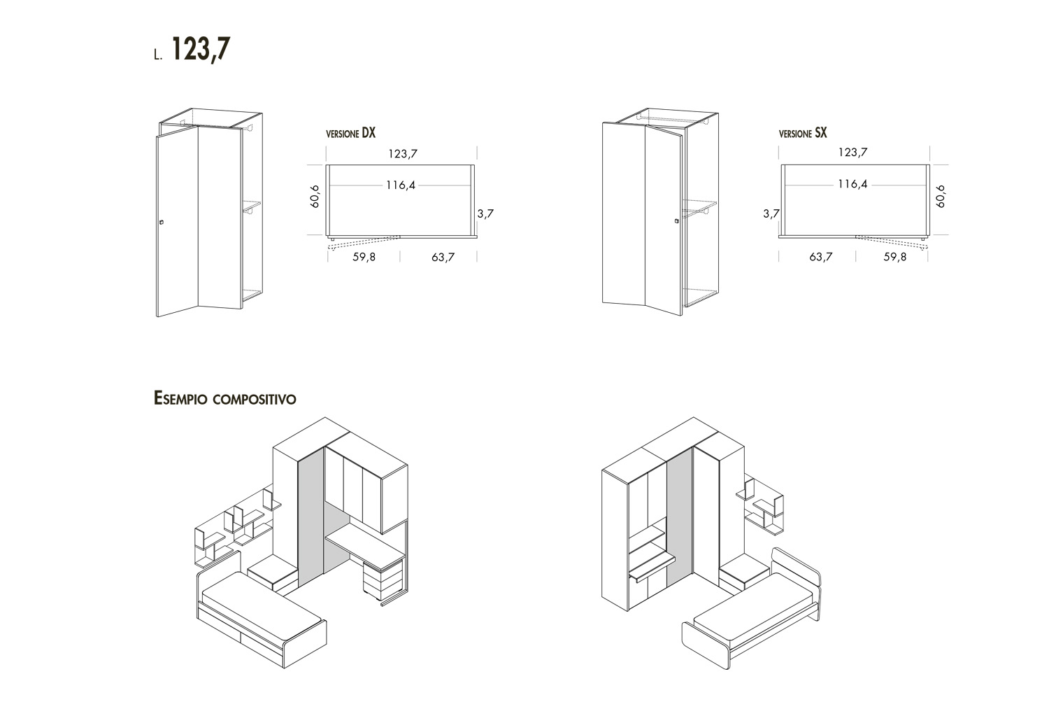 Examples of use of the w.123,7 cm unit: with desk and bridging cabinets or with 1 door wardrobe