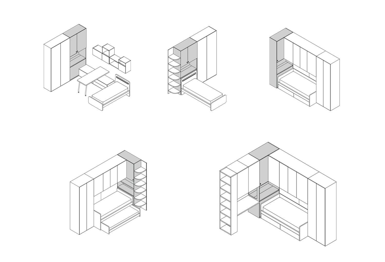 Esempi compositivi colonna armadio Duplo