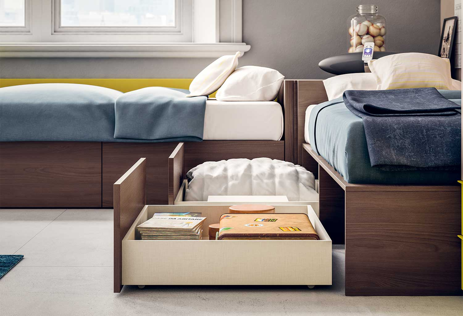 Spacious drawers can be fully pulled out to clean the space below the bed