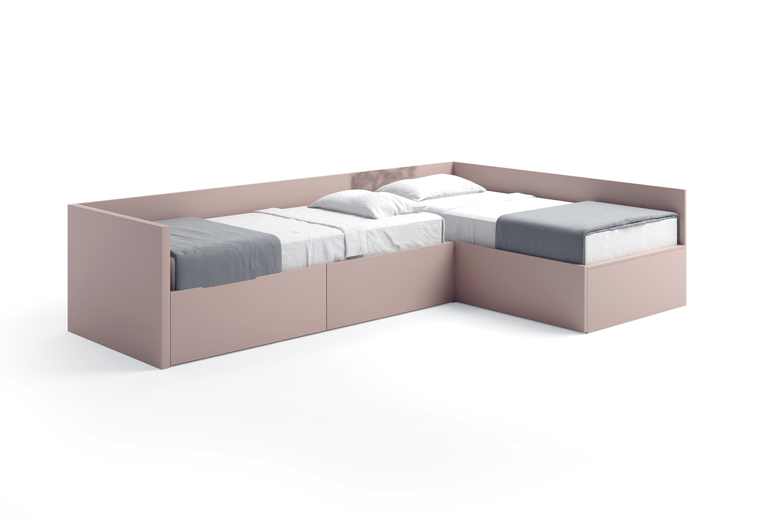 L-shaped beds with headboards and back panels