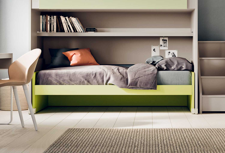 Il letto Lobby Estraibile può essere inserito in camerette a ponte o a soppalco