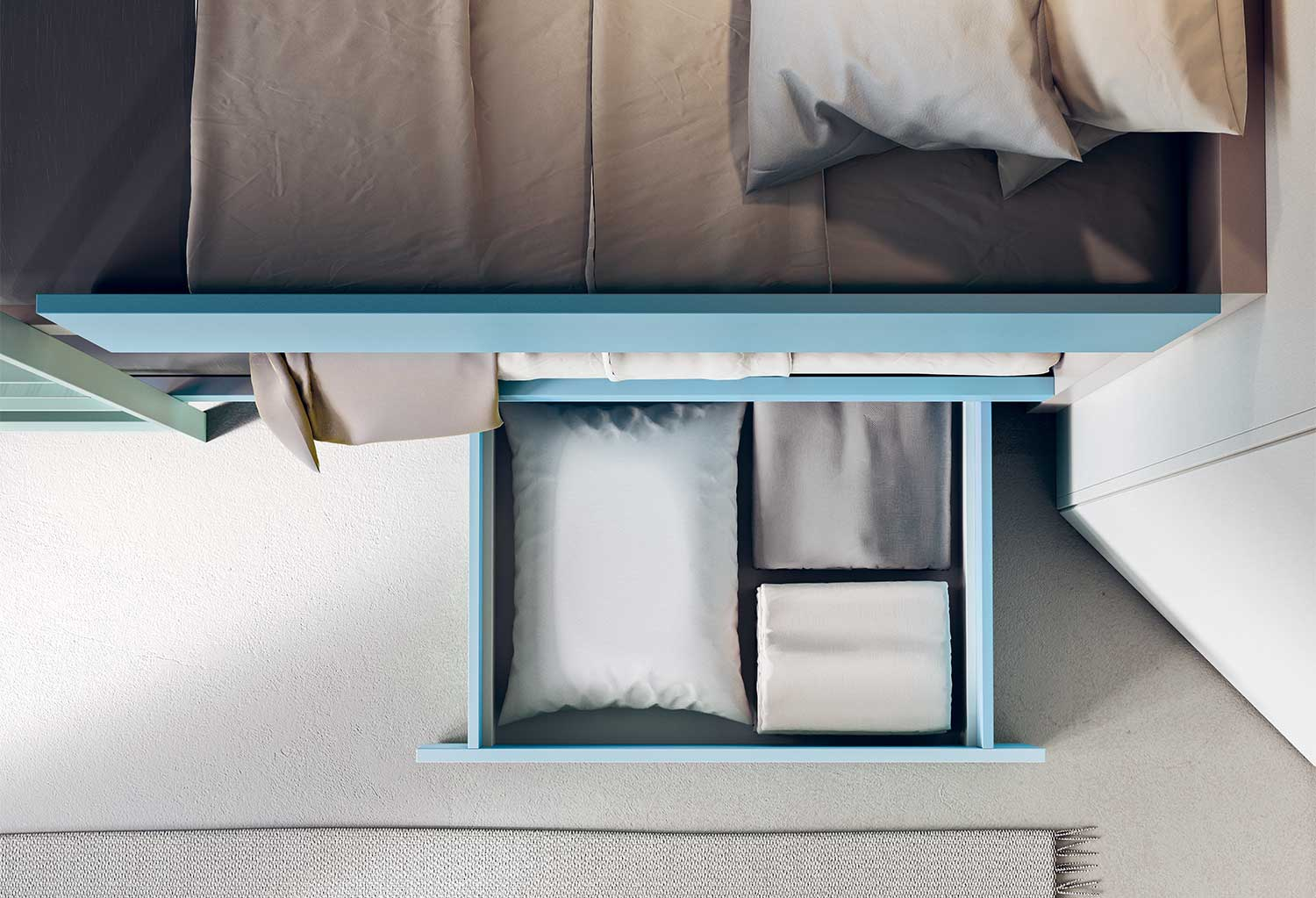 The lower bunk has a handy drawer underneath