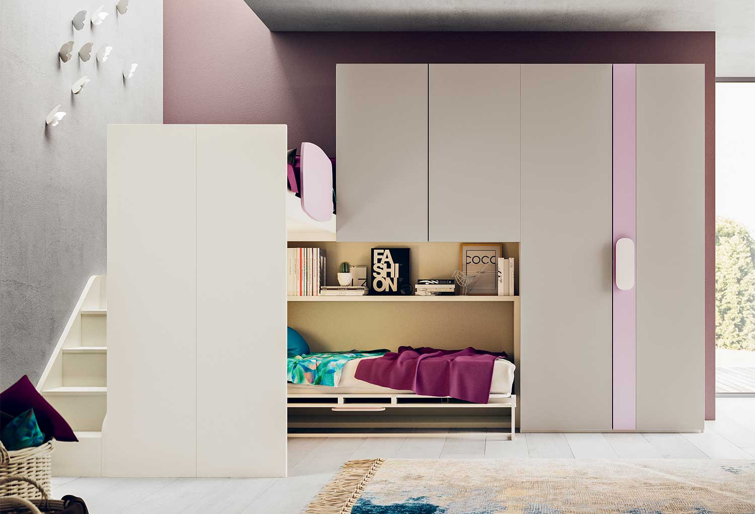 Below the wall wardrobe units you can accommodate a single bed or murphy bed