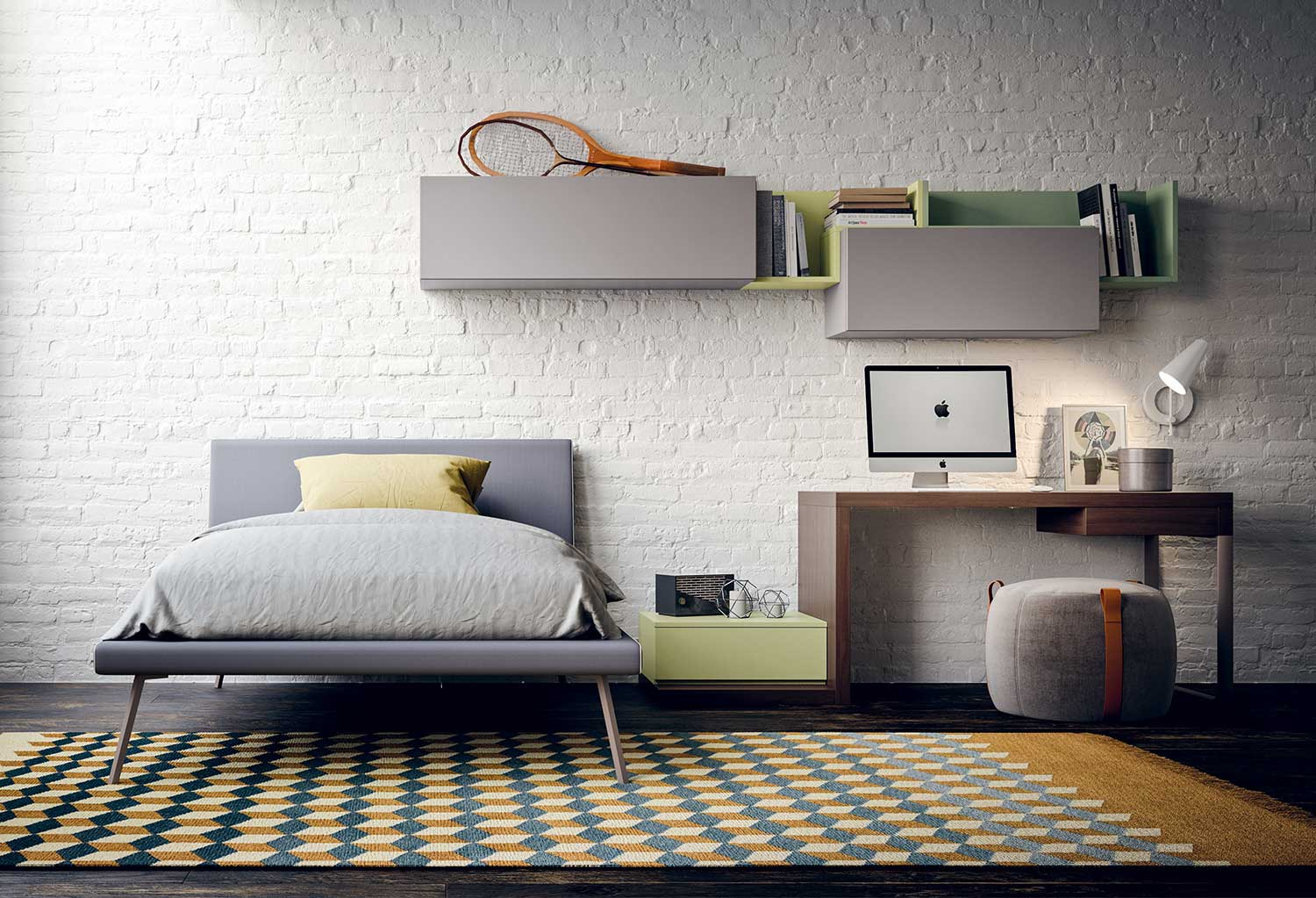Bed and study area are placed next to each other, with the bedside table integrated in the desk