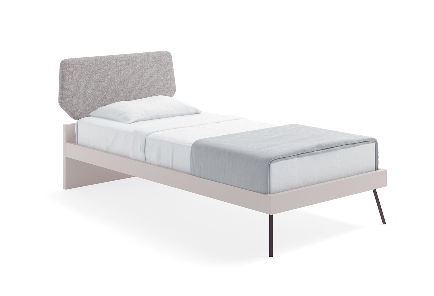 Single bed Cale in bicolour design with upholstered headboard