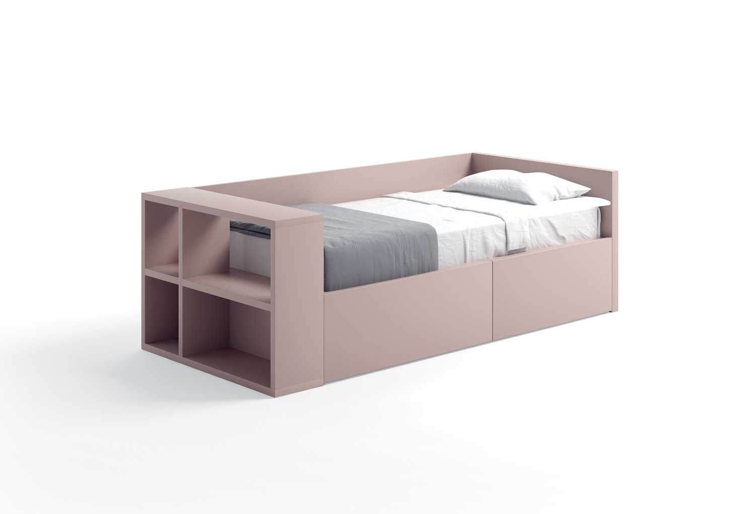 Bed with back panel and bookcase footboard