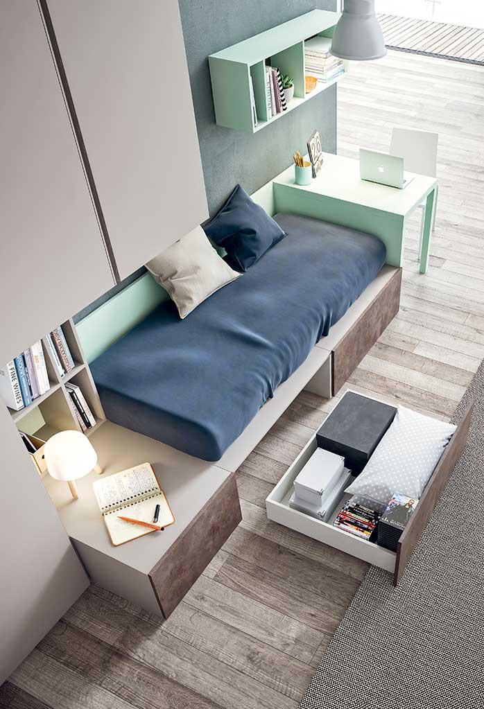 Il letto singolo XL può essere dotato di una panca laterale con cassetto