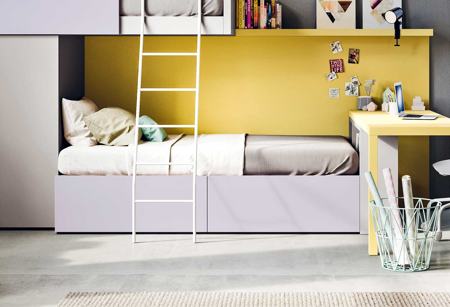 Single low cabin bed with bookcase footboard