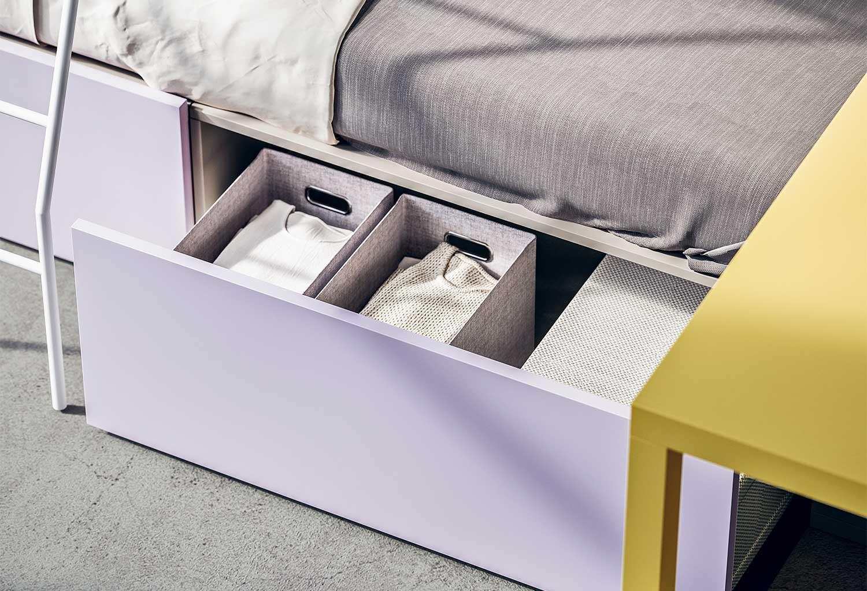 Il cassetto è una capiente soluzione salvaspazio per camerette piccole