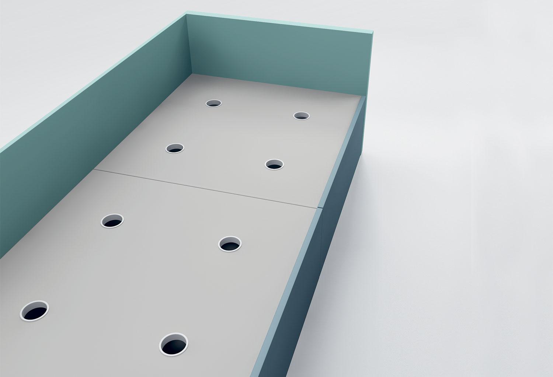 Il letto con cassetti è dotato di piano con fori di areazione