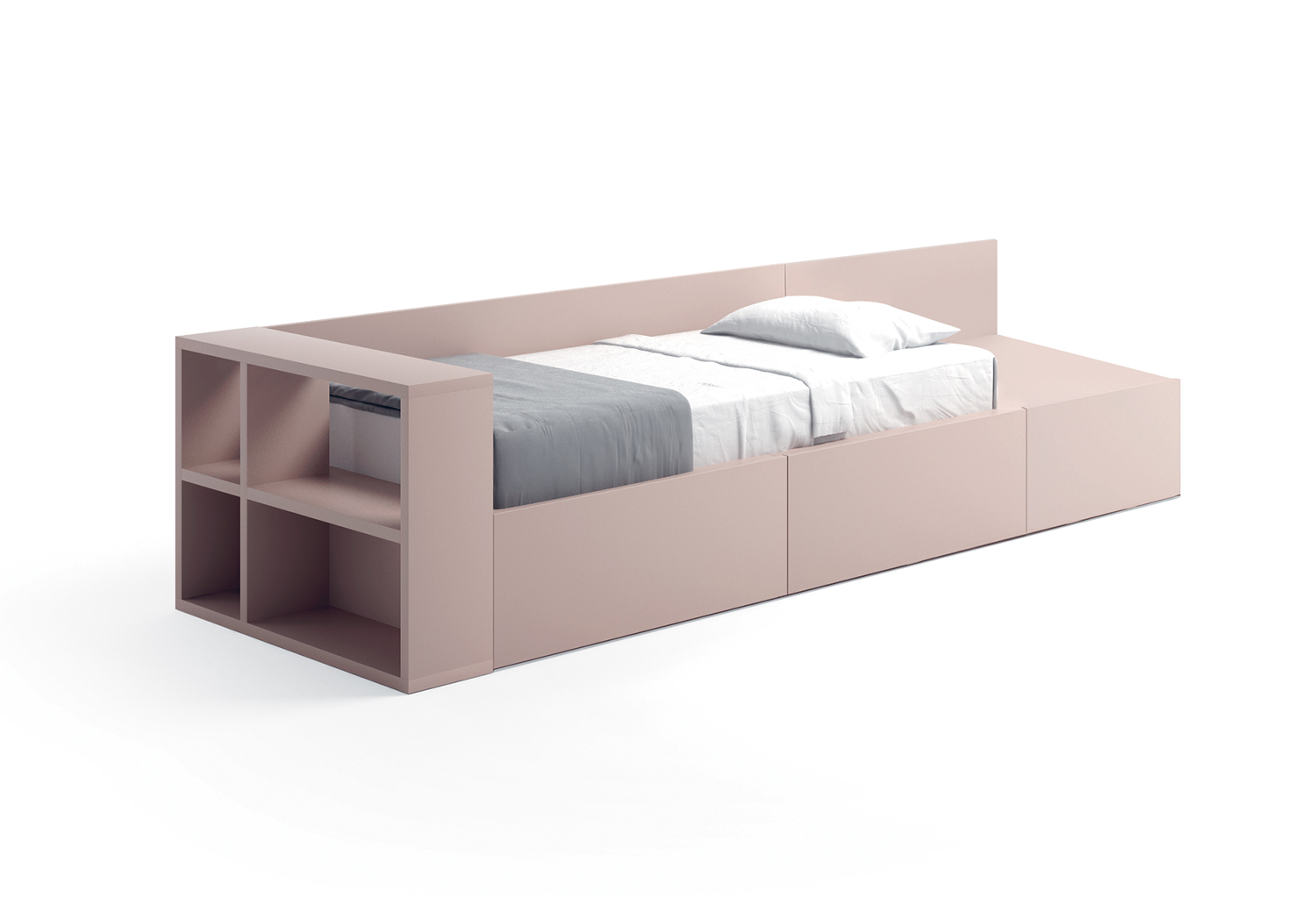 Bed with back panel, bookcase footboard and extra drawer