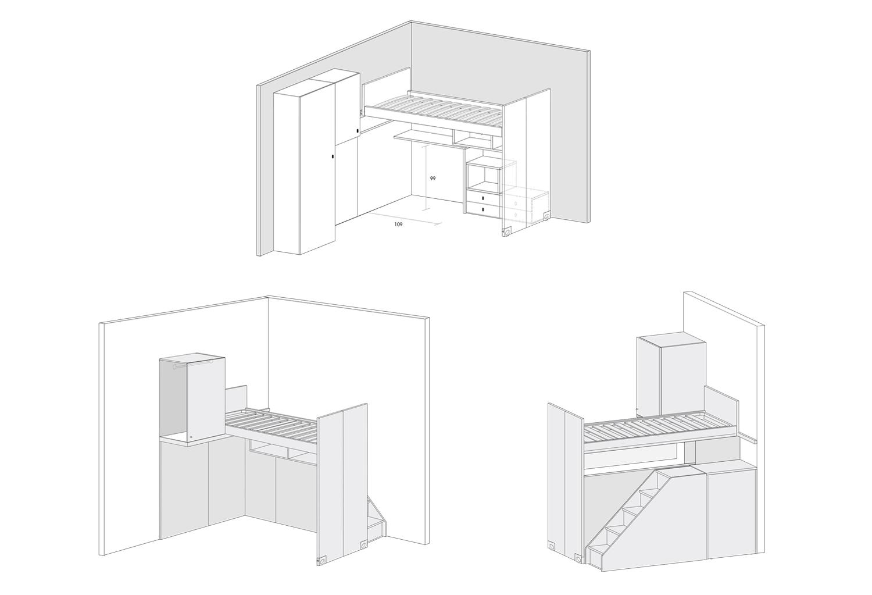 Primo schema: letto a castelponte con sottoponte attrezzato. Secondo e terzo schema: letto a castelponte con sottoponte libero.