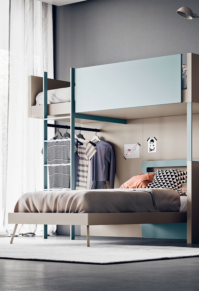 Sky bunk bed with ladder and integrated clothes rack