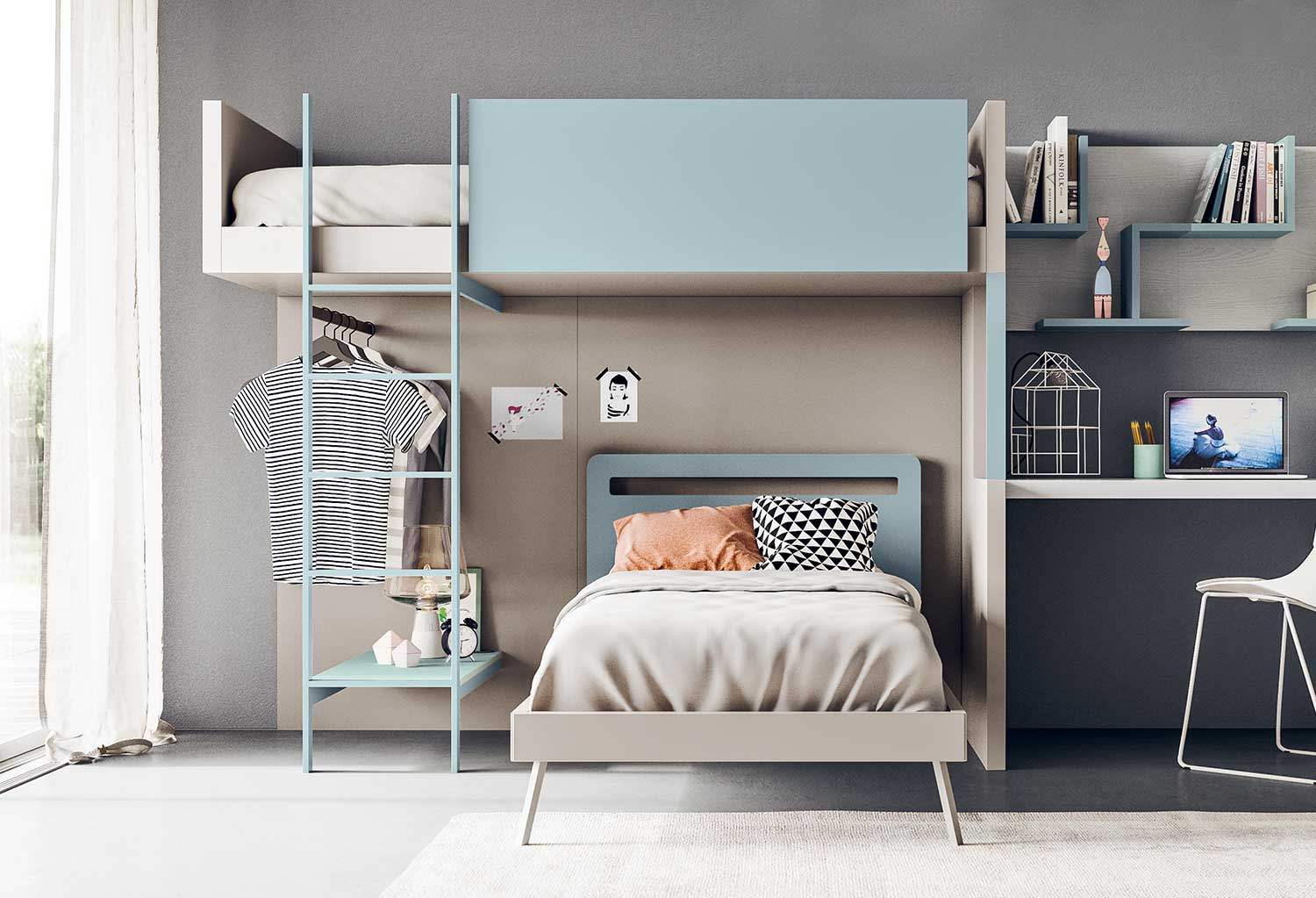 Corner shaped bunk bed that separates into a loft and a single bed