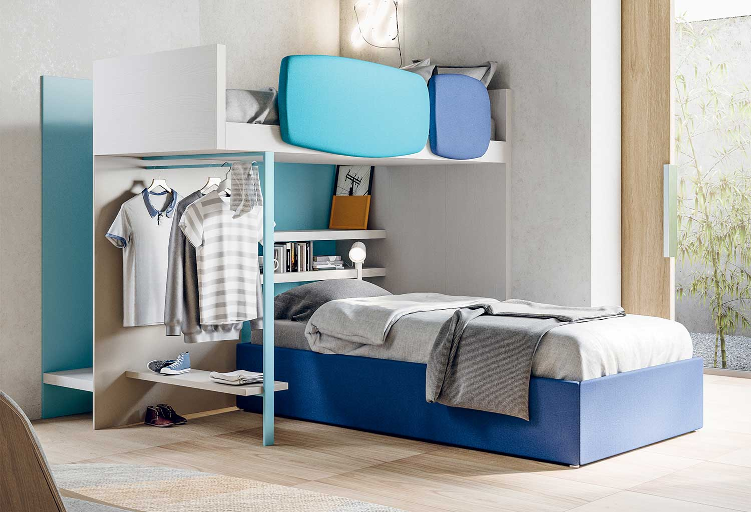 The low bed can be chosen in many different models, also with storage