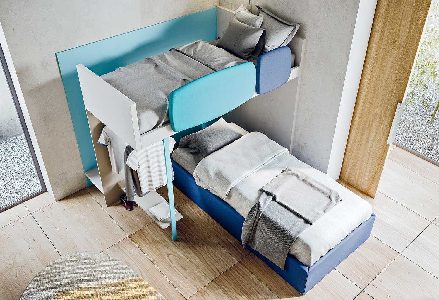 Corner bunk bed: the low bed is separated from the high sleeper and can be placed in many ways