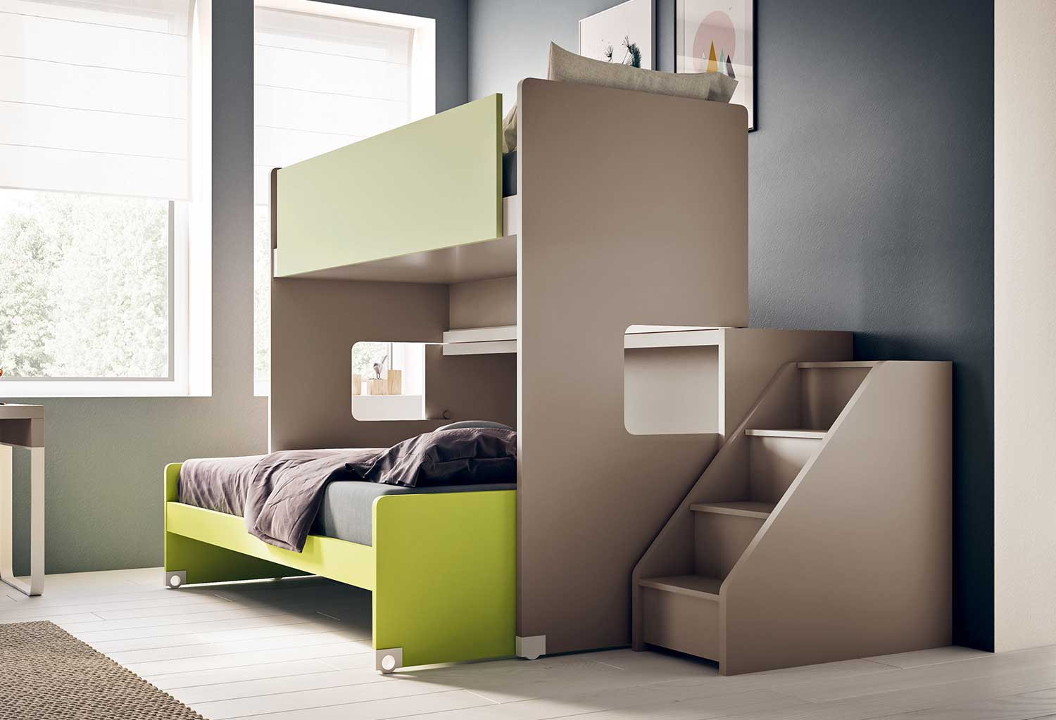 Letto A Castello Con Scala Laterale.Slide Modern Children S Bunk Bed Clever