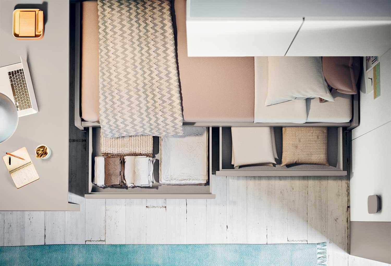 Dettaglio del letto con cassettoni