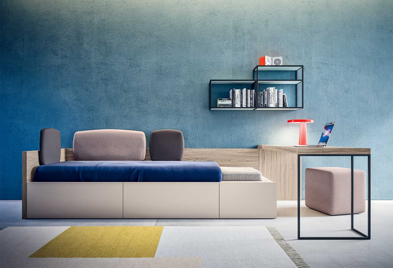 XL bed is equipped with drawers, upholstered panels and side seating