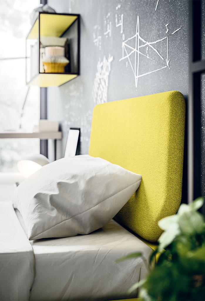 Dettaglio del letto imbottito Cale