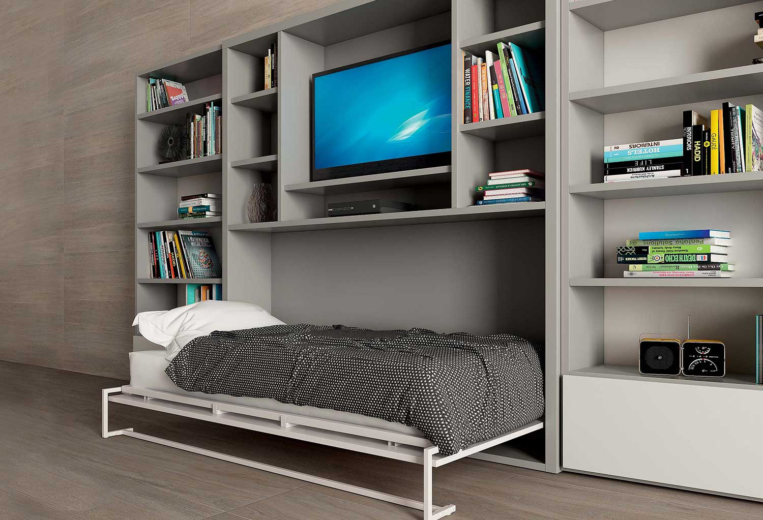 Nikai modern murphy bed with tv unit clever it for Mobile con letto a scomparsa ikea