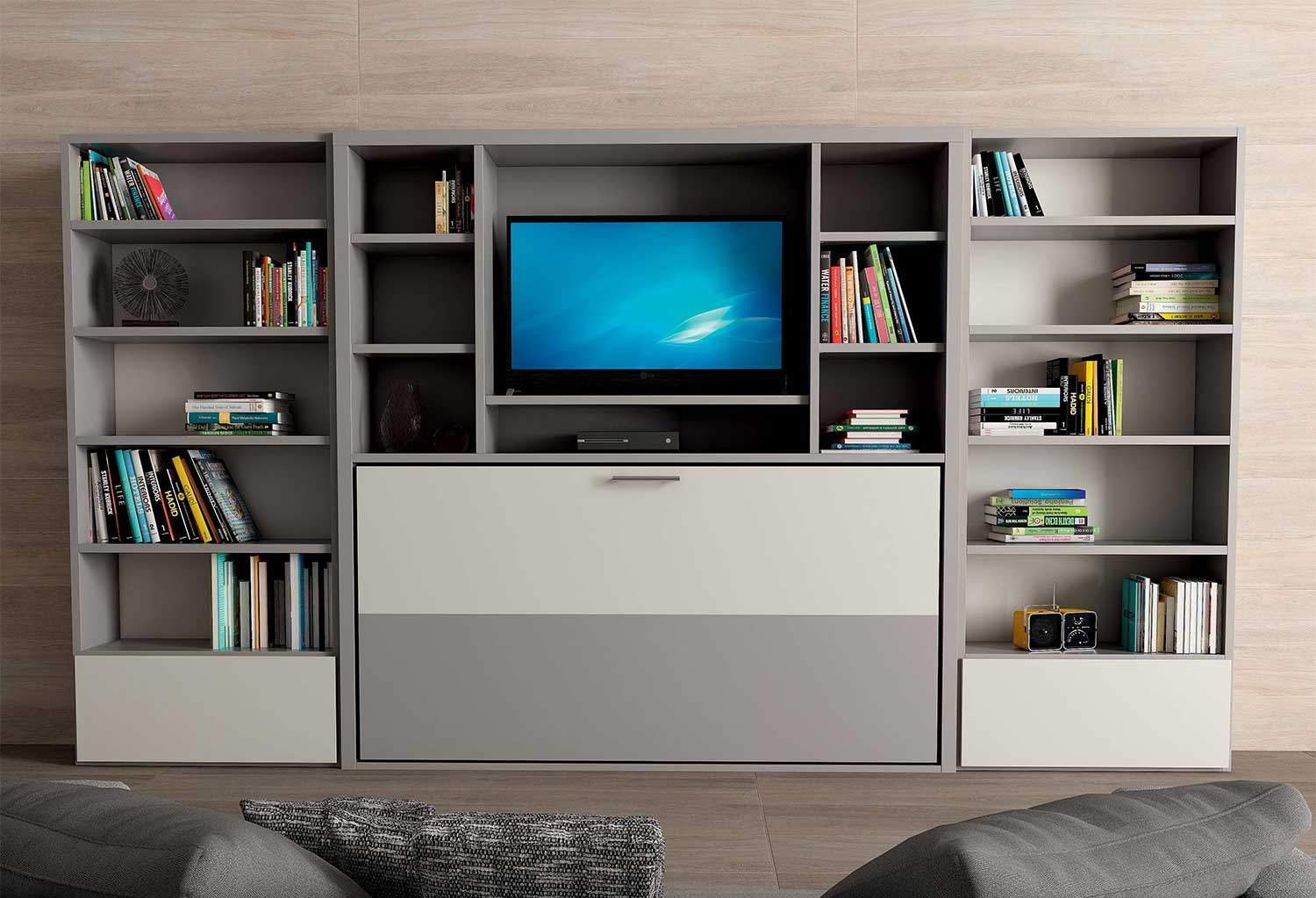 Nikai modern murphy bed with tv unit clever it - Mobile tv a scomparsa ...
