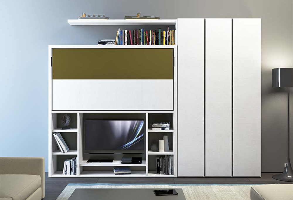 Nikai modern murphy bed with tv unit clever it - Carrelli tv ikea ...