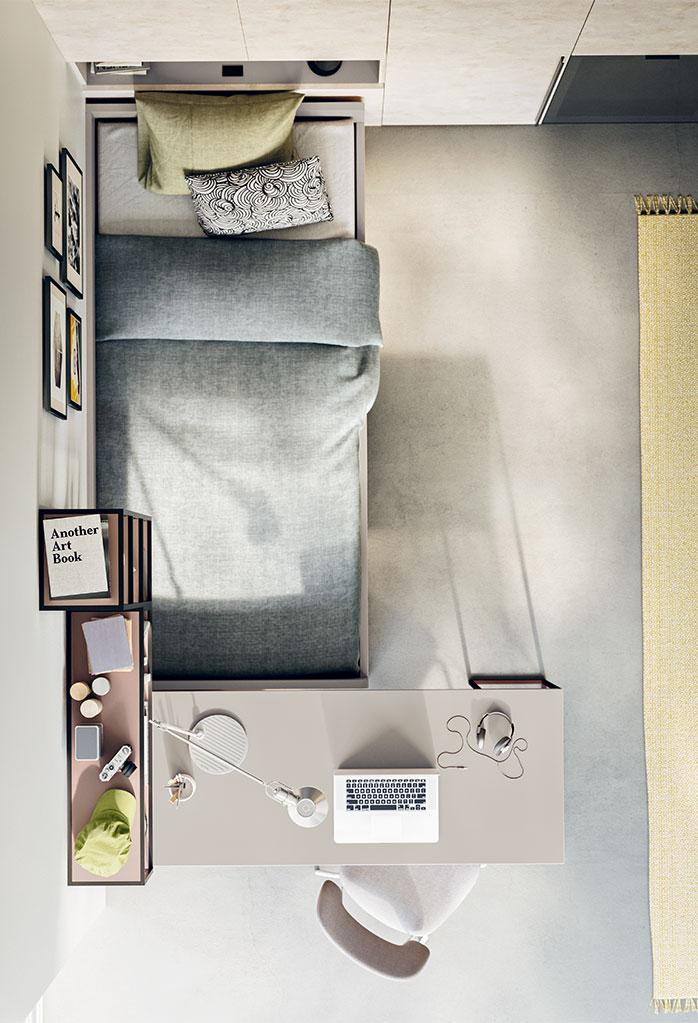 Cameretta con divano letto singolo e letto estraibile - Letto con scrivania estraibile ...