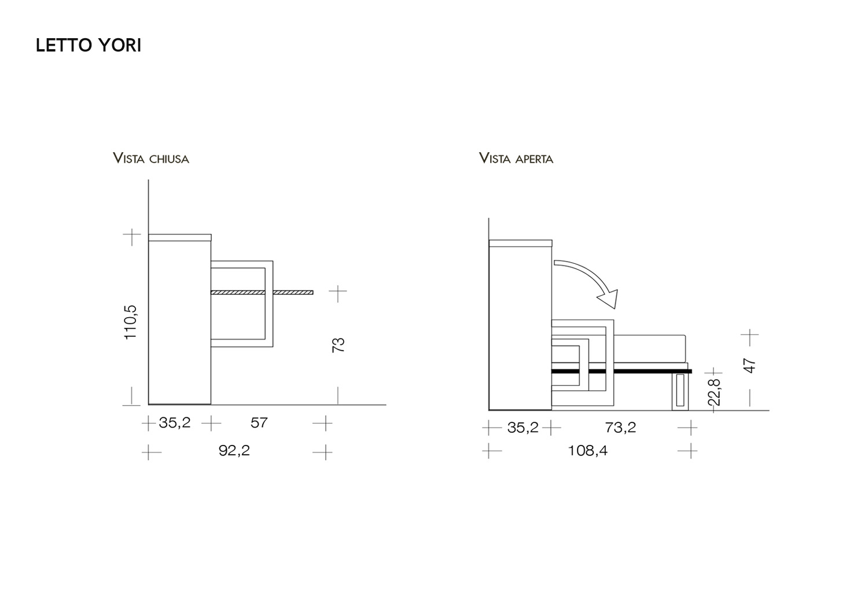 Letto singolo abbattibile con scrittoio yori yori tv for Planimetria semplice con dimensioni