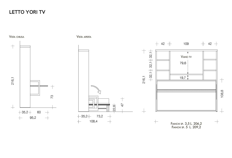 Schema dimensioni letto Yori TV