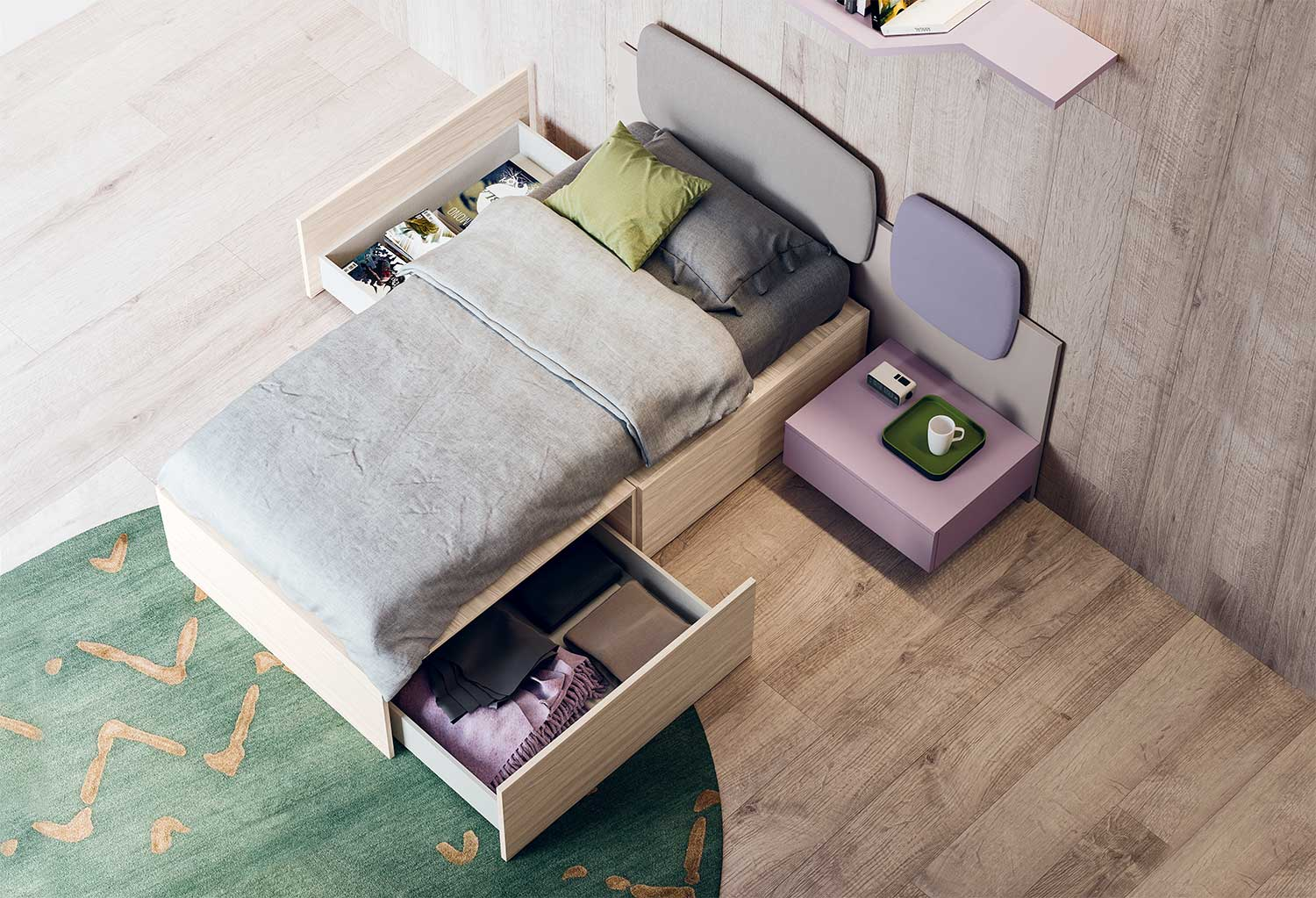 XL single bed with drawers and wall panel with upholstered element and floating bedside table