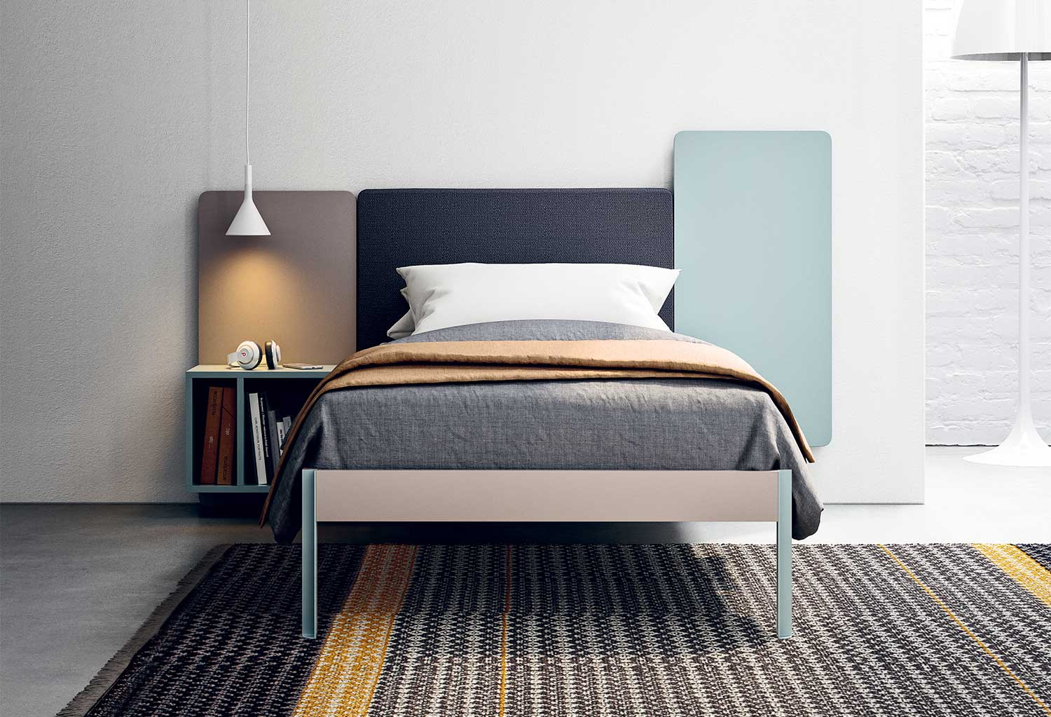 Wall modular headboard with bedside table and single bed Turca