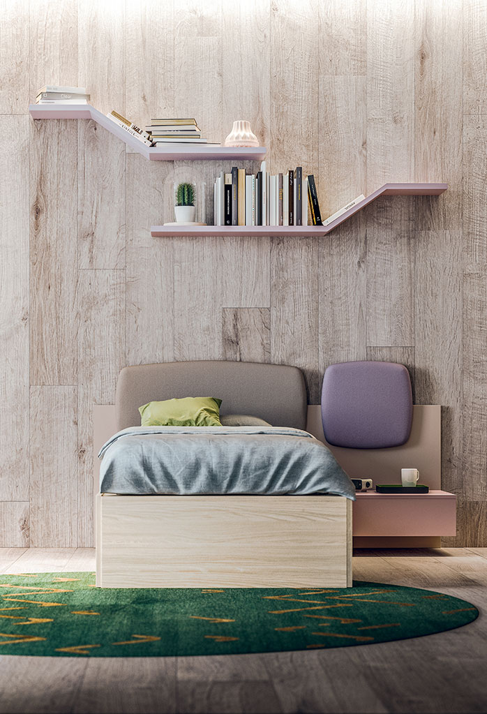 XL bed complemented by wall paneling with buit in bedside table and upholstered headboard